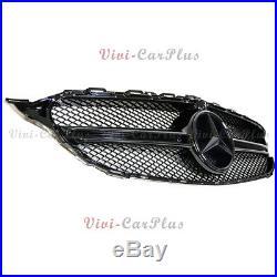Fit 15+ M-BENZ W205 C250 C350 C400 Sport Sedan All Black Front Bonnet Grille Set