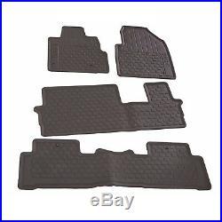 For Black Rubber All Season Floor Mat Set Genuine for Honda Pilot 2009-2015