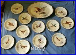 Game Set Platter and 12 Plates all hand painted Limoges Circa 1900 No Damage