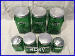 Green Depression Glass Canisters Set of 7 Anchor Hocking All Original