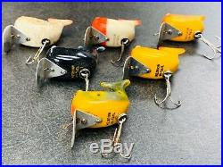 Heddon Hi Tail Lot of 6 Vintage Fishing Lures Set of All the Basic Colors