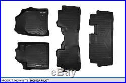 MAXFLOORMAT All Weather Custom Fit Floor Mats Liner (3 Row) Set for Pilot Black