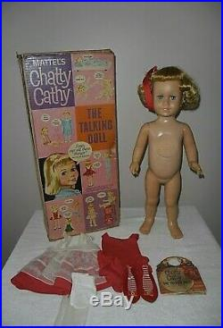Mattel 1959/1960 #1 CHATTY CATHY Doll WithCorrect Box All ORIGINAL Red Voile Set