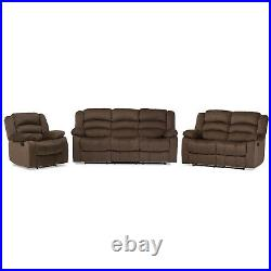 Microsuede Reclining Sofa, Loveseat, Chair or Full Set of All 3 in Taupe (Brown)