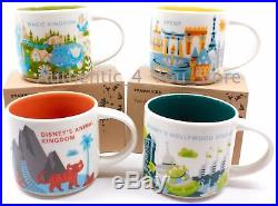 NEW Starbucks Disney World Mug Set of 4 Ceramic 14oz Mugs ALL 4 PARKS