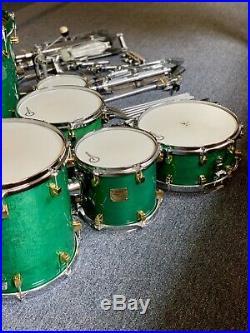 Original 7 Piece Yamaha Maple Custom Dum Set Turquoise Green/Gold + All Hardware