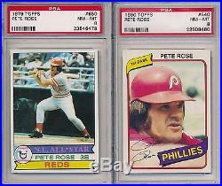 Pete Rose Reds 17 Card Lot Career Set 1964 1980 Topps ALL PSA 8