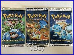 Pokémon Original BASE SET Booster Pack All 3 Art Set FACTORY SEALED 1999