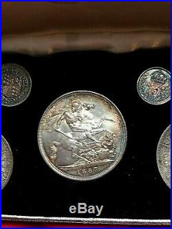 Proof 1887 coin set, all UNC top grades original case and coins stunning tonning