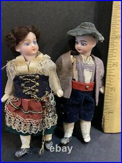 RARE 4 MIGNONETTE SET ALL ORIGINAL OUTFIT ANTIQUE Germany French Glass Eyes