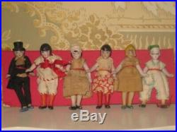 Rare Set Of 6 Factory Original 2 3/4 Antique German Hertwig All Bisque Dolls