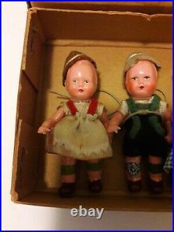 SET OF 6 Antique German Edi 1920s Celluloid Dolls, All Original in box