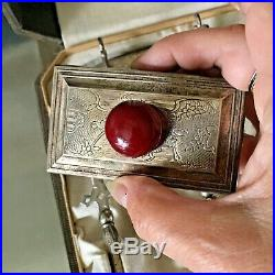 Scrap or Use Antique Sterling Desk Set in Original Box- All Pcs Stamped Sterling