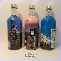 Set ALL 3 Seattle WA Collectors Edition Absolut Vodka Bottles Empty No Alcohol