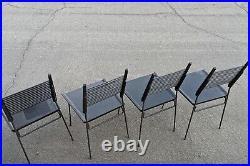 Set Of Four Paul Mccobb Black Shovel Chairs For Winchendon, All Orig
