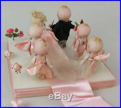 Set of 6 all original, antique all-bisque Kewpie bridal party with display RARE