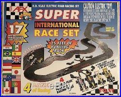 TOMY AFX Super International H. O. Scale 4 Lane Race Set 9939 All Track, 4 Cars