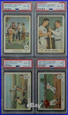 Ted Williams 1959 Fleer Retirement Set All Graded PSA 8 and 9 Ted Signs 1-80