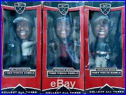 Tiger Woods Limited Edition Nike 2002 Bobblehead Upper Deck Series Set Of All 3