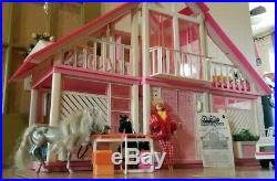 Vintag Barbie Dream House set. Horse, car, doll, furniture, all doors & windows