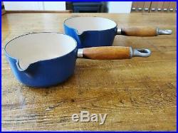 Vintage Le Creuset Saucepan Set Blue. Good Condition, All Original