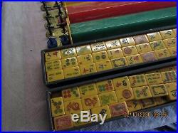 Vintage Mahjong Mah Jong Game Set Bakelite 152 Tiles & 5 Racks All Original