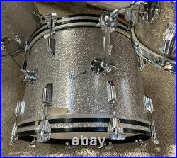 Vintage Rogers Silver Sparkle Pearl Drum Set 12/16/20 Kit All Original Stunning