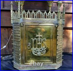Vtg Gothic Set Tabernacle and Niche all Brass Jewellled Rarelly Seen W Key RARE