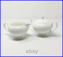 Wedgwood All White Bone China Covered Sugar & Creamer Set
